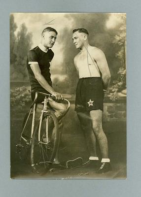 Photograph of cyclist Chris Wheeler & another, August 1935, Olympic Team; Photography; 2006.4629