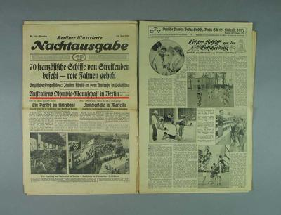 Nine assorted German newspapers, and newspaper pages, from 1936; Documents and books; 1986.1008.5