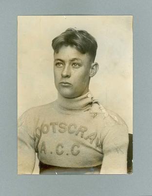 Photograph of cyclist Chris Wheeler wering Footscray ACC jumper, April 1936