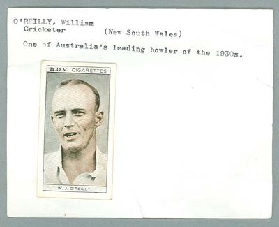 Trade card featuring William O'Reilly, BDV Cigarettes c1930s