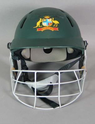 Australian cricket team helmet, used and signed by Brad Hodge