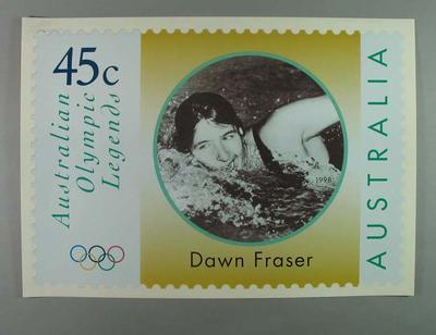 """Poster - Australia Post's """"Australian Olympic Legends"""" featuring Dawn Fraser; Documents and books; 1998.3391.1"""