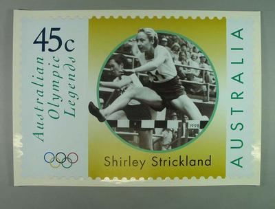 """Poster - Australia Post's """"Australian Olympic Legends"""" featuring Shirley Strickland"""