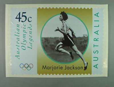 """Poster - Australia Post's """"Australian Olympic Legends"""" featuring Marjorie Jackson; Documents and books; 1998.3391.4"""
