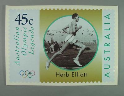 "Poster - Australia Post's ""Australian Olympic Legends"" featuring Herbert Elliott; Documents and books; 1998.3391.5"