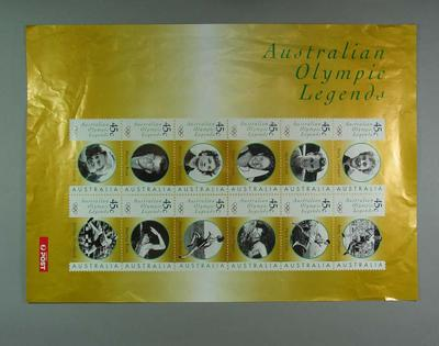 """Poster - Australia Post's """"Australian Olympic Legends"""" 45c stamp series 1998; Documents and books; 1998.3391.7"""