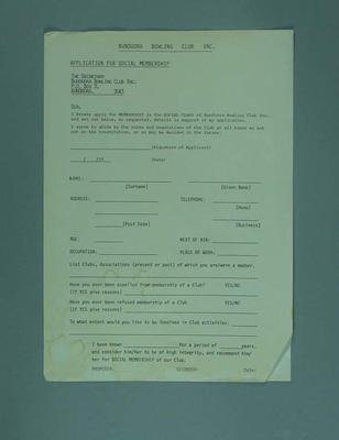 Appllication for Social Membership, Bundoora Bowling Club - Norman Nugent papers
