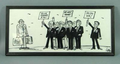 Framed political cartoon by Collette showing Dick Hamer, Lindsay Thompson, Brian Dixon and others.