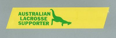 Yellow ribbon, imprinted  - 1976 Australian Lacrosse Team Supporters