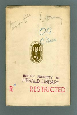"""Booklet, """"Report to International Olympic Committee by 1956 Organising Committee"""" c1954"""