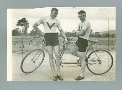 Photograph of Chris Wheeler & Tas Johnson, Olympic Tandem cyclists April 1936