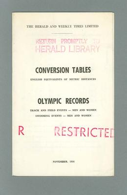 "Brochure, ""Conversion Tables / Olympic Records"" Nov 1956; Documents and books; 1995.3137.13"
