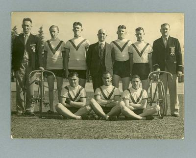 Photograph of Chris Wheeler with other cyclist team members c. 1935