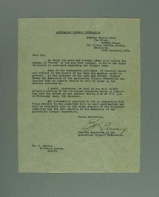 Letter, requests presence of T H Morris at inquiry into 1928 Australian Olympic Games team; Documents and books; 1995.3117.1