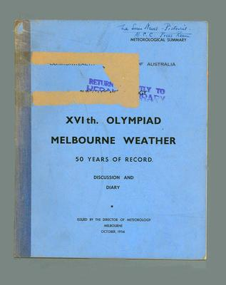 "Book, ""Meteorological Summary: Melbourne Weather"" Oct 1956"