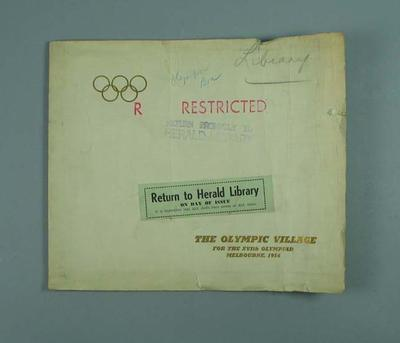"Book, ""The Olympic Village for the XVIth Olympiad"" c1956"