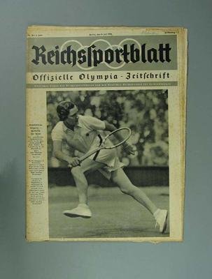 """Magazine, """"Reichssportblatt"""", dated 8 July 1936"""