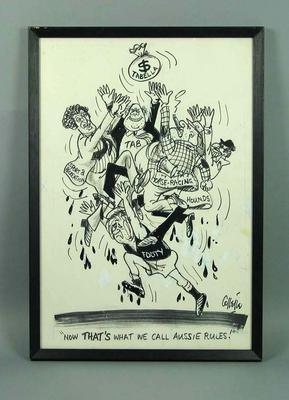 Framed black texta cartoon by Collette of Brian Dixon and others -  'Now That's What We Call Aussie Rules!'