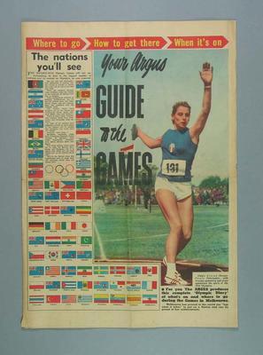 "Newspaper supplement, ""The Argus"" 16 Nov 1956"
