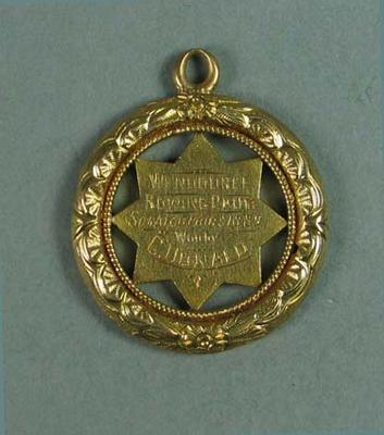 Wendouree Rowing Club Scratch Pairs medal won by Charles Donald, 1889