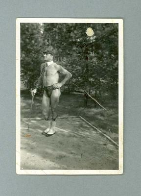 Photograph of man with cap and cane, 1936 Berlin Olympic Village; Photography; 2006.4706