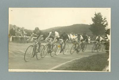 Photograph - Bicycle race with Chris Wheeler at front of cyclist group, circa 1930s