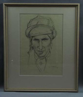 Original framed sketch of Roy Higgins signed by artist Louis Kahan 1972; Artwork; Framed; 1993.2860.7