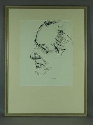 Original framed sketch of Donald Campbell signed by artist Louis Kahan 1963; Artwork; Framed; 1993.2860.6