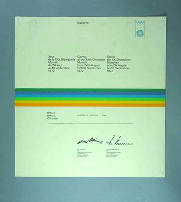 Diploma for 1972 Olympic Games, awarded to George Saunders; Documents and books; 1994.2980.2