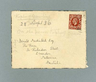 Envelope for letter to Donald Mackintosh from Caroline Kipling, 29 July 1936