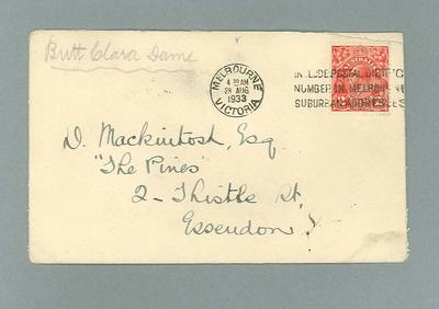 Envelope for letter to Donald Mackintosh from Dame Clara Butt, 28 Aug 1933