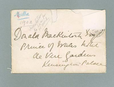 Envelope for letter to Donald Mackintosh from Dame Nellie Melba, c1902