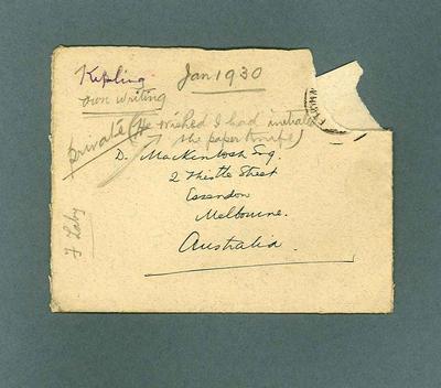 Envelope for letter to Donald Mackintosh from Rudyard Kipling, 29 Jan 1930