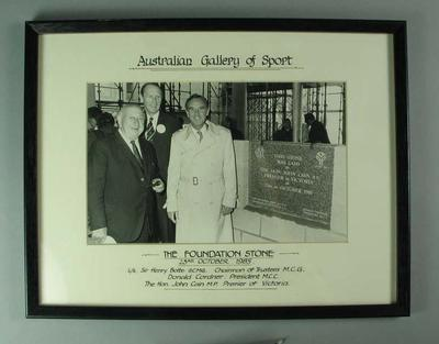 Framed black and white photograph - Foundation stone laying ceremony, 23 October 1985 - Australian Gallery of Sport; Photography; Framed; 1986.1296.2