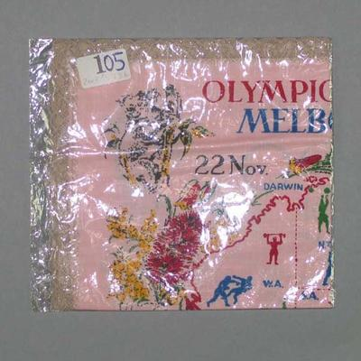 1956 Melbourne Olympic Games souvenir handkerchief with lace trim.