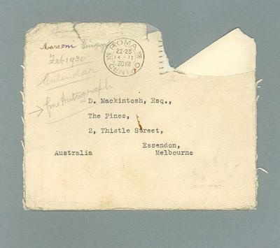 Envelope for letter to Donald Mackintosh from Guglielmo Marconi, 13 Feb 1930