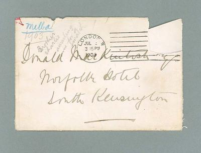 Envelope for letter to Donald Mackintosh from Dame Nellie Melba, 1903