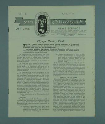 """Newsletter, """"The Olympiad"""", no 12 June 1956"""