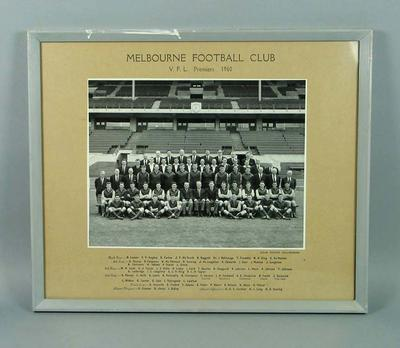 Framed black and white photograph of the Melbourne Football Club, V.F.L. Premiers 1960.