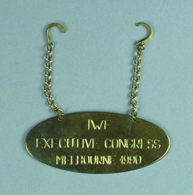 Plaque, IWF Executive Congress 1990