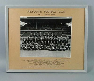 Framed black and white photograph of the Melbourne Football Club V.F.L. Premiers 1959