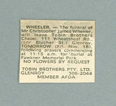 Newspaper clipping announcing arrangements for cyclist Chris Wheeler's funeral; Documents and books; 2006.4761