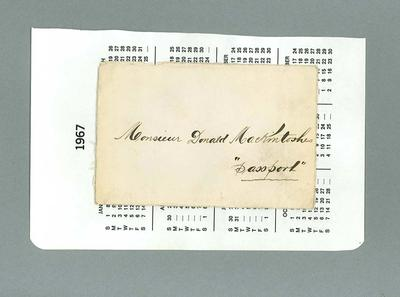 Envelope for passport issued to Donald Mackintosh, 1907; Documents and books; 1987.1695.48