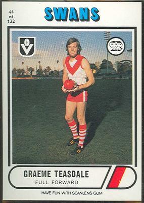 1976 Scanlens VFL Football Graeme Teasdale trade card