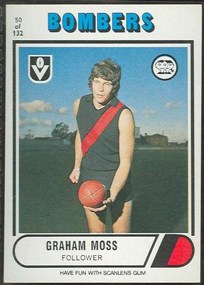 1976 Scanlens VFL Football Graham Moss trade card; Documents and books; 1994.3042.17