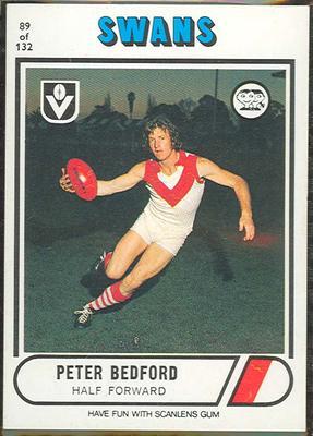 1976 Scanlens VFL Football Peter Bedford trade card