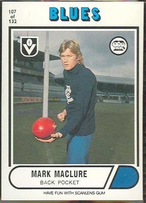 1976 Scanlens VFL Football Mark Maclure trade card
