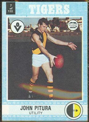 1977 Scanlens VFL Football John Pitura trade card