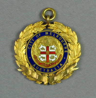 Junior Swimming Championship of Victoria 1937-38 gold medal, won by W Wilkinson