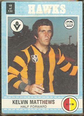 1977 Scanlens VFL Football Kelvin Matthews trade card
